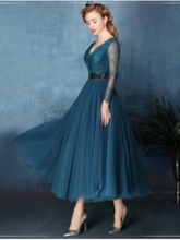 Double V-Neck Long Sleeve Lace Belt Evening Dress