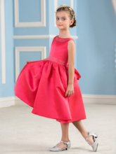Tea-Length Matte Satin Beading A-Line Flower Girl Dress