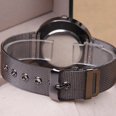 Black Metal Mesh Belt Quartz Watch