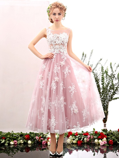 Round Neck Appliques Beaded Tea-Length Prom Dress
