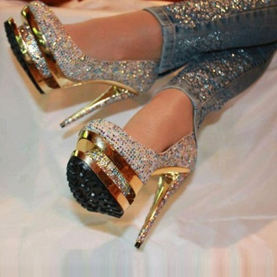 Rhinestone Platform Stiletto Heels Prom Shoes