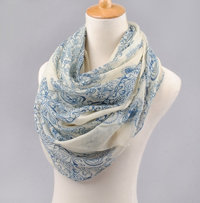 Blue and White Porcelain MS Scarf