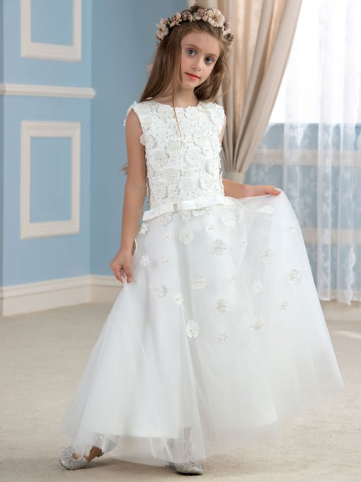 Floral Embellishments Tulle A-Line Flower Girl Dress