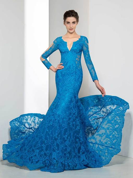 Long Sleeve Lace Long Mermaid Evening Dress