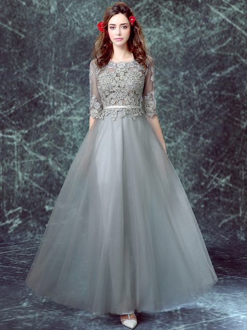 A-Line Sashes Half Sleeve Appliques Evening Dress