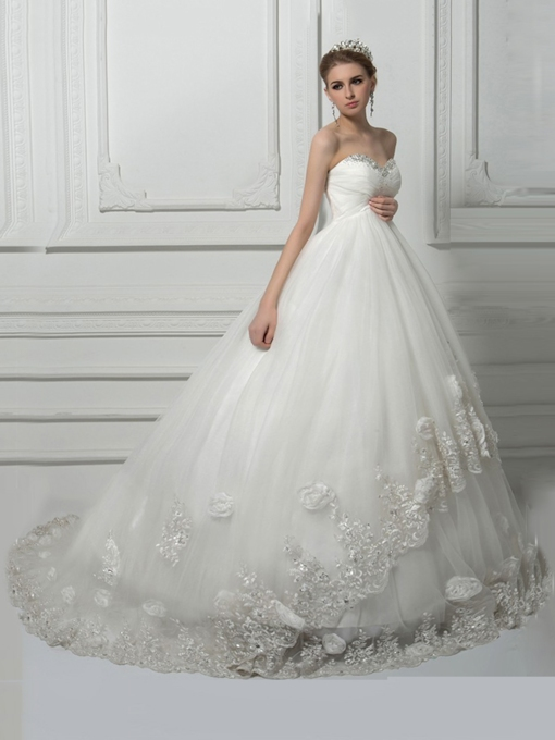 Beading Ball Gown Lace Pregnant Wedding Dress
