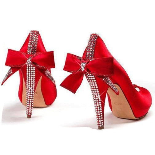 Round Toe Plain Rhinestone Bowtie Women's Wedding Shoes