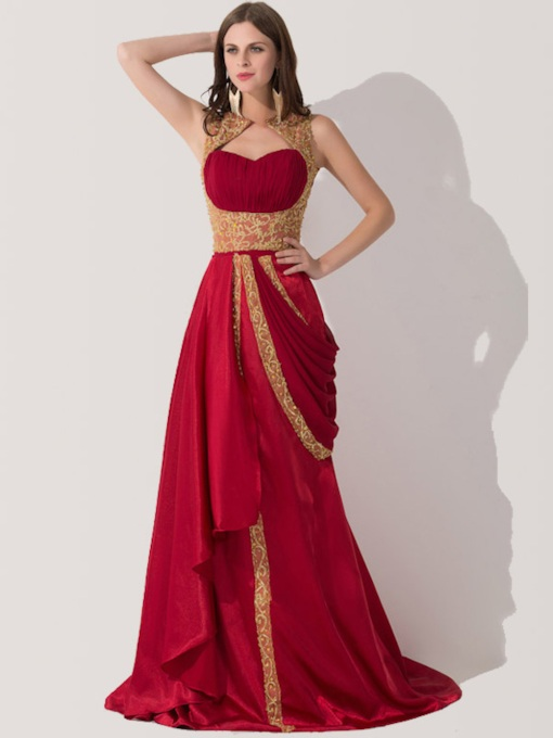 A-Line Draped Jewel Appliques Beading Evening Dress