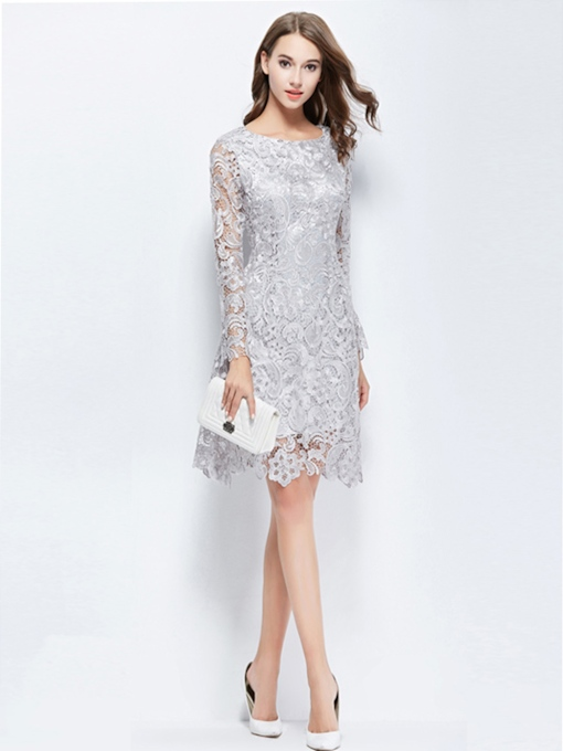 Scoop Sheath Long Sleeves Lace Knee-Length Cocktail Dress