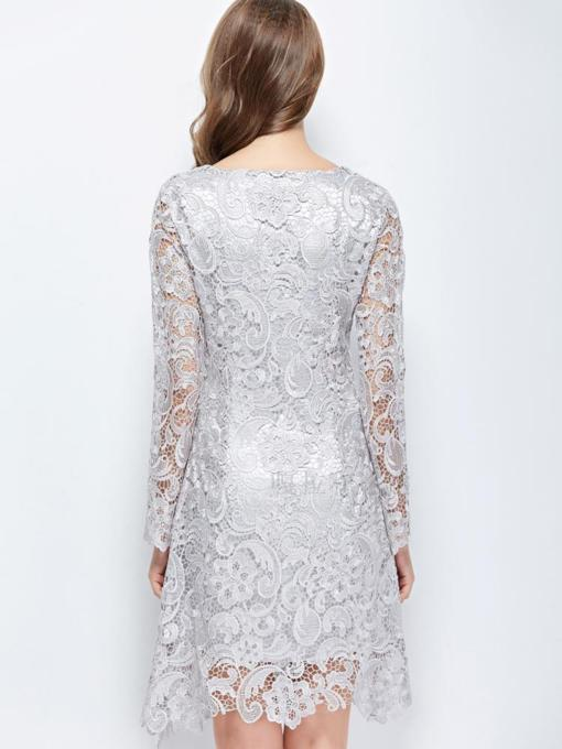 Scoop Neck Sheath Long Sleeves Lace Cocktail Dress