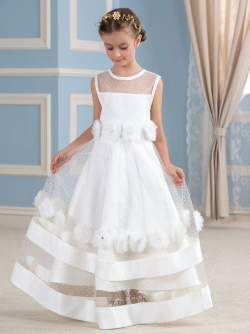 Sheer Tulle Scoop Neck Long Flower Girl Dress
