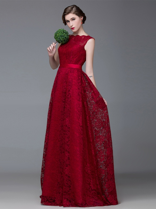 Bateau Neck Belt A-Line Lace Floor-Length Evening Dress