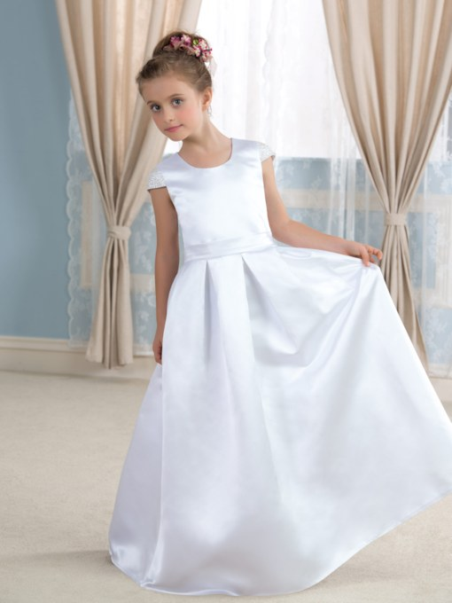 Solid Color Bowknot Matte Satin Long Flower Girl Dress