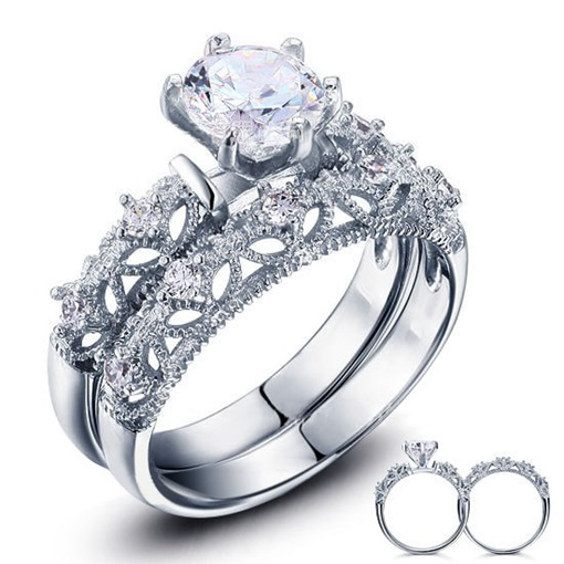 Hollow Out 925 Sterling Silver Lovers Ring Set