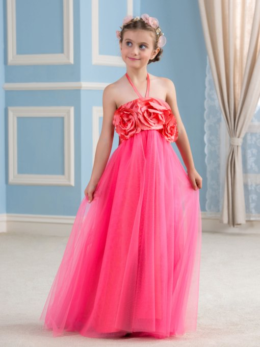 Halter Neck Floor-Length Tulle Flower Girl Dress