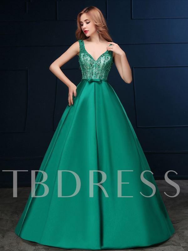 Image of A-Line Straps Lace Bow Beading Backless Evening Dress
