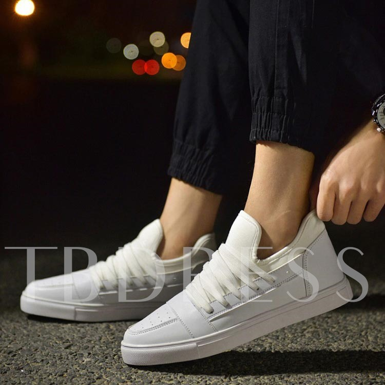 Flat Heel Round Toe Plain Men's Sneakers