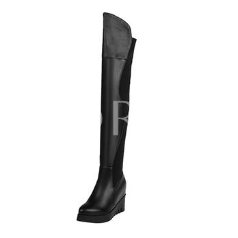 Short Floss Pointed Toe Slip-On Over-The-Knee Patchwork Women's Boots