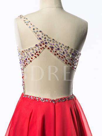 A-Line One-Shoulder Beaded Crystal Criss-Cross Straps Homecoming Dress