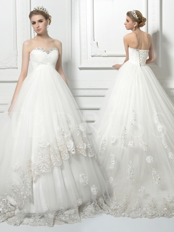 Beading Lace-Up Ball Gown Lace Pregnant Wedding Dress