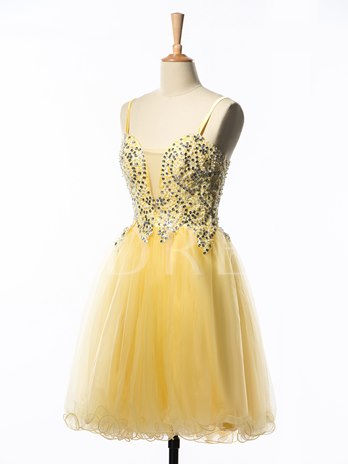 Spaghetti Straps A-Line Beaded Pearls Short Homecoming Dress