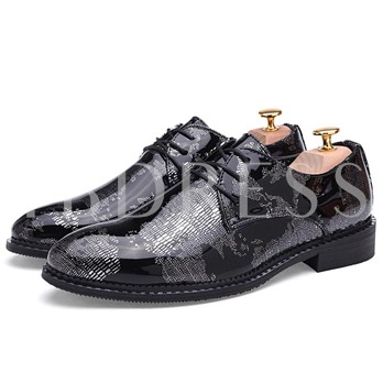 Pointed Toe Square Heel Floral Cross Strap Men's Oxfords