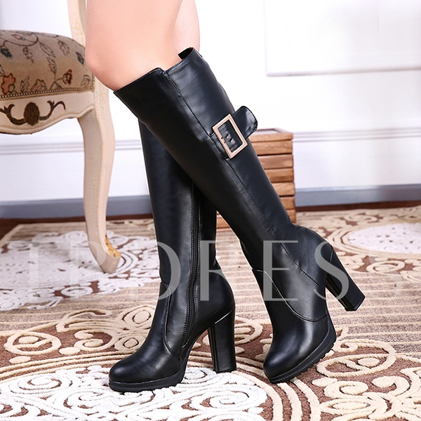 Platform Side Zipper Round Toe Knee-High Women's Boots