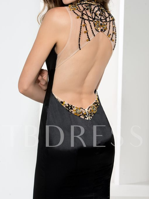Jewel Open Back Beaded Mermaid Evening Dress