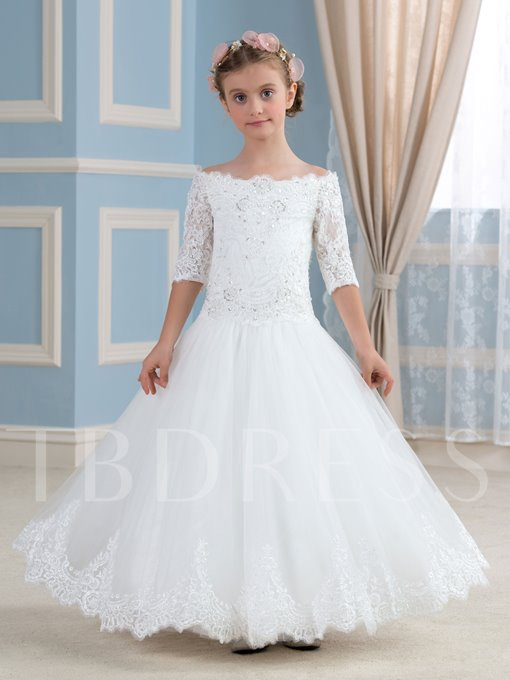 Lace Tulle Off-The-Shoulder Half Sleeve Ball Gown Flower Girl Dress
