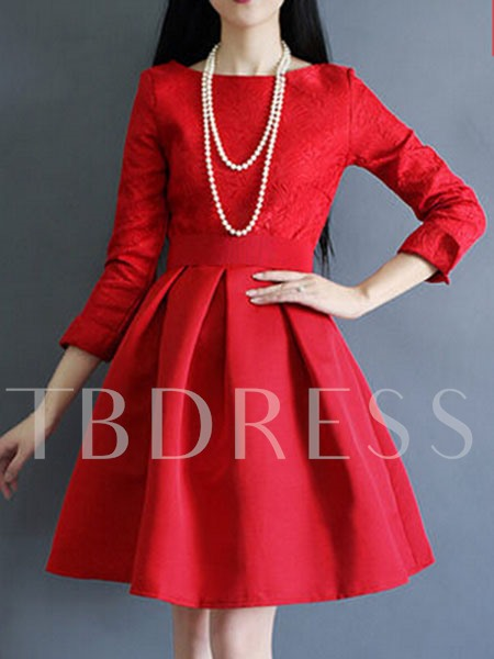 Red Slash Neck A-Line Women's Long Sleeve Dress