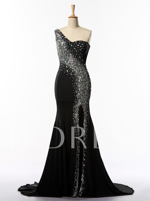 One-Shoulder Side-Split Beaded Long Evening Dress