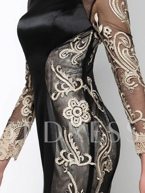 Long Sleeve Appliques Court Train Mermaid Evening Dress