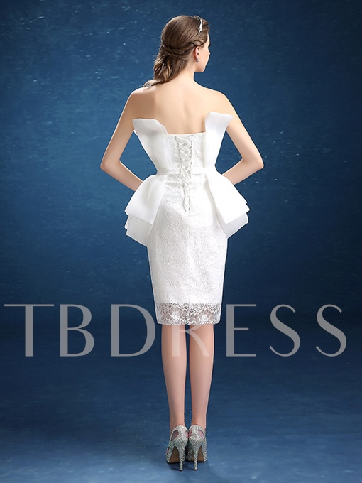 Sheath Strapless Lace Draped Knee-Length Cocktail Dress