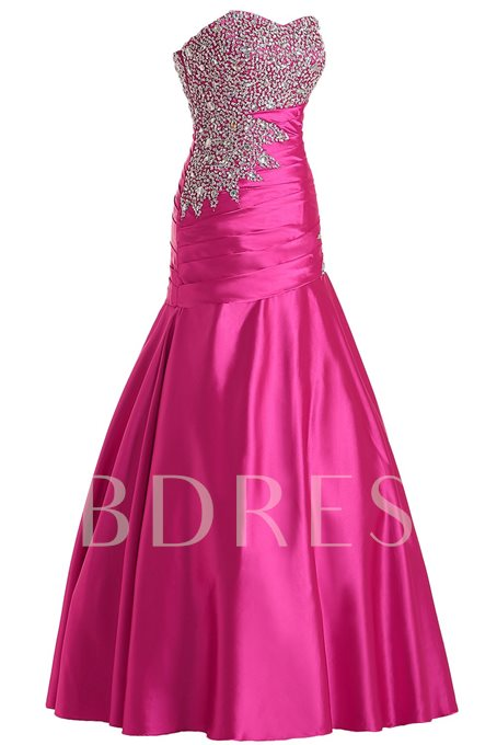 Trumpet Sweetheart Beading Rhinestone Pleats Sequins Evening Dress