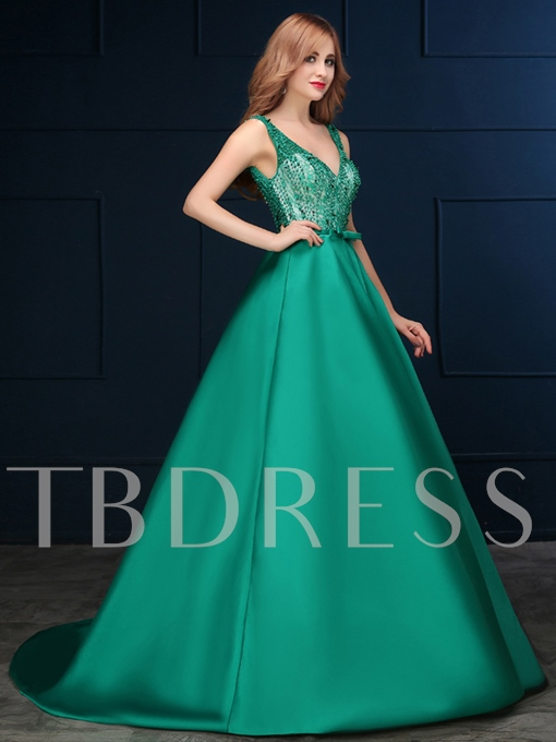 A-Line Straps Lace Bow Beading Backless Evening Dress