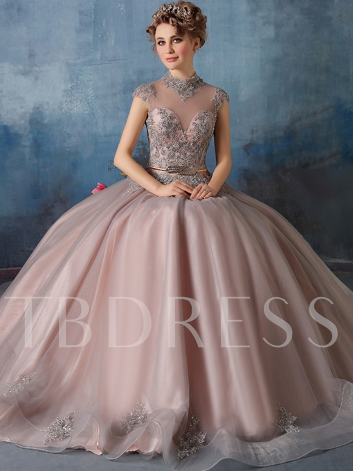 High Neck Appliques Ball Gown Quinceanera Dress