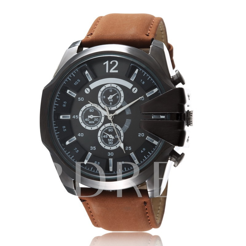 Three Eye Big Dial Artificial Leather Watch