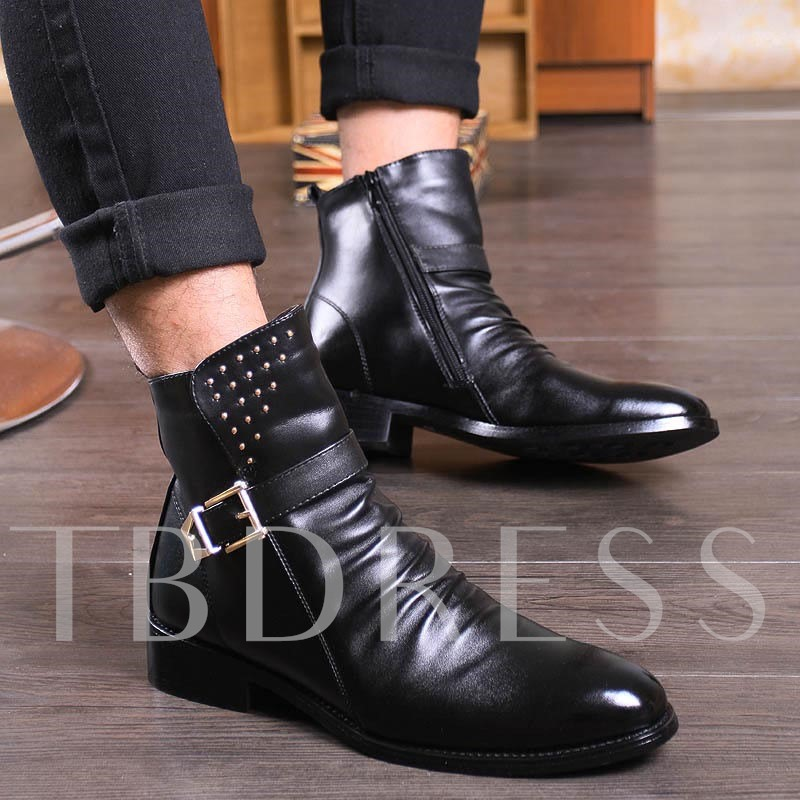 Square Heel Round Toe Side Zipper Buckle Men's Ankle Boots