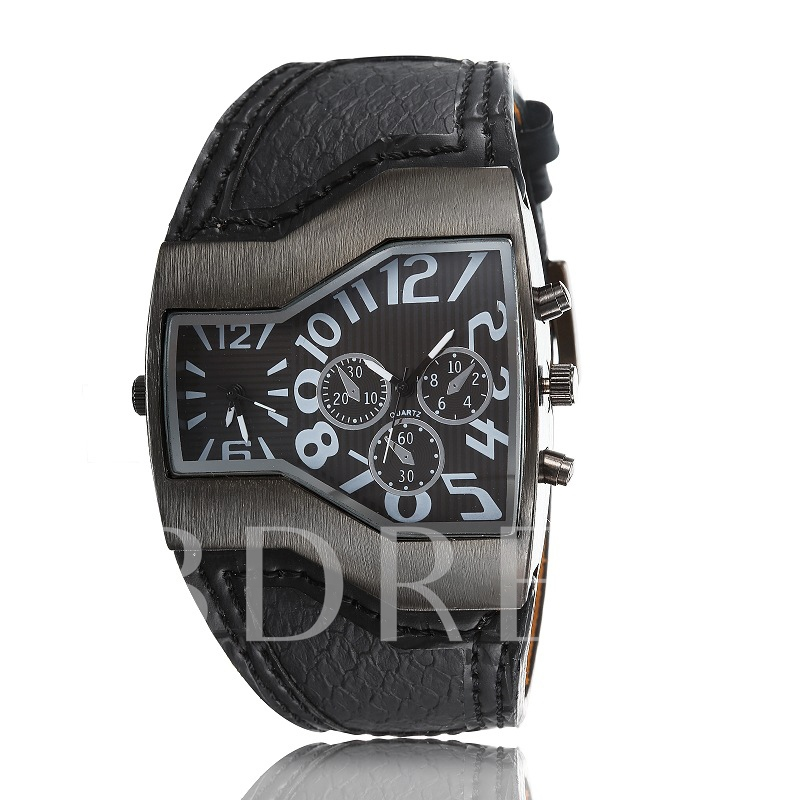 Big Dial Double Time Zone Quartz Watch