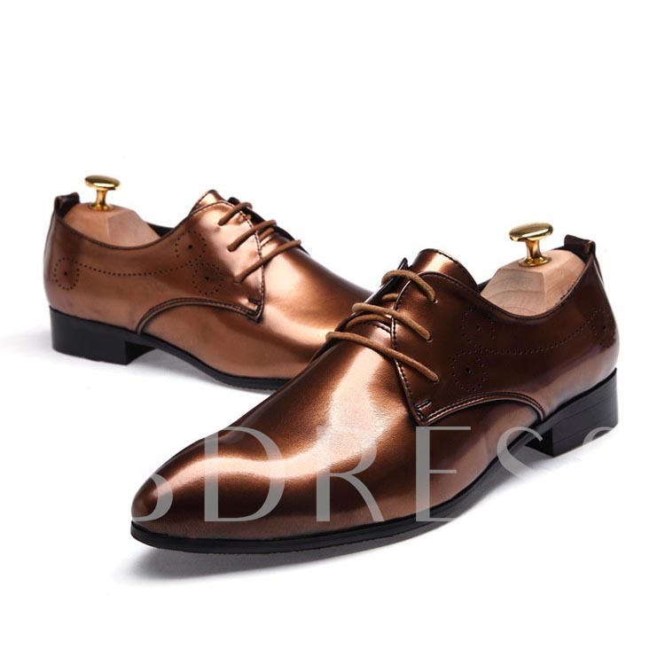 Pointed Toe Plain Lace-Up Front Square Heel Men's Oxfords
