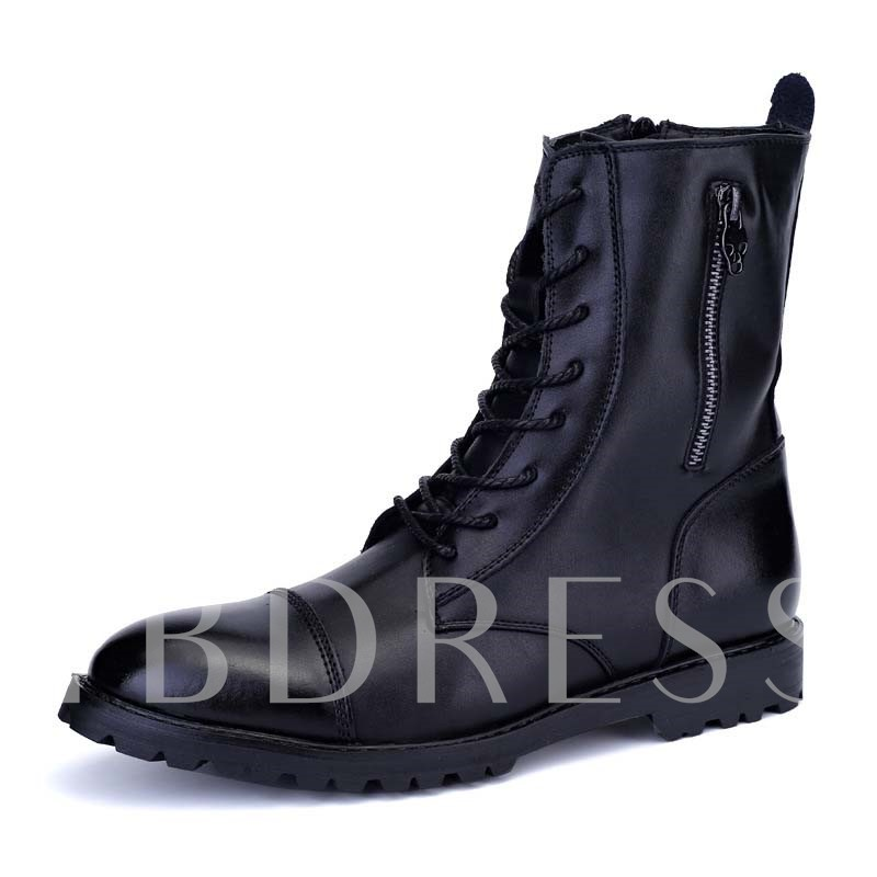 Side Zipper Pointed Toe Lace-Up Front Ankle Men's Boots