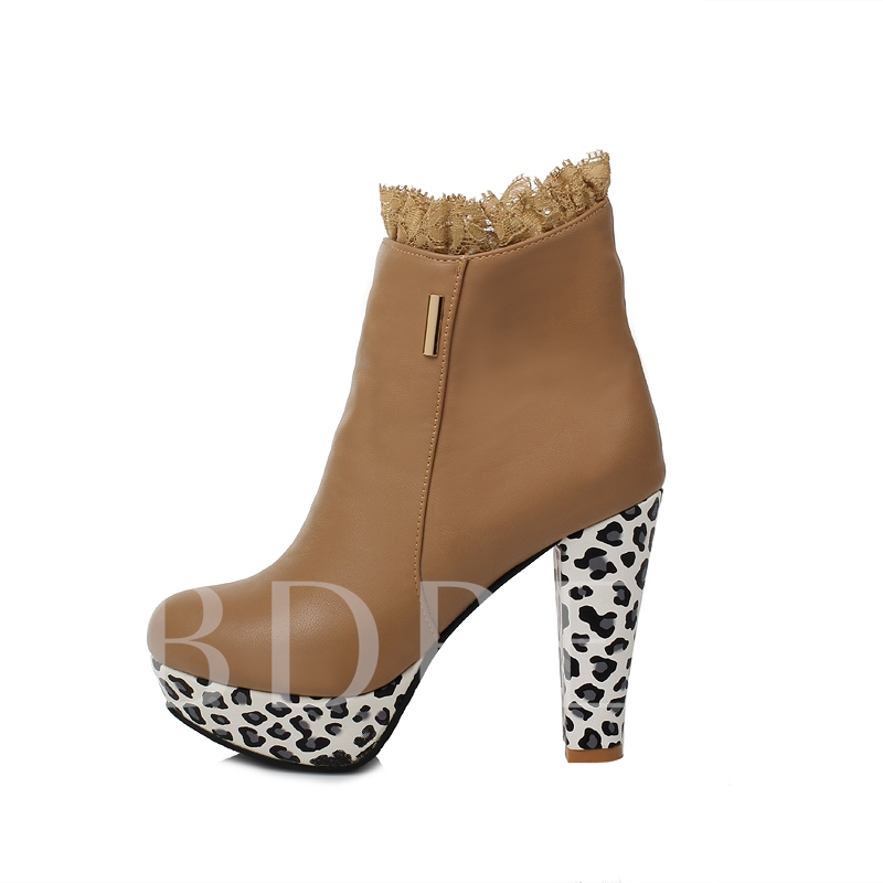 Chunky Heel Platform Round Toe Side Zipper Knee-High Women's Boots