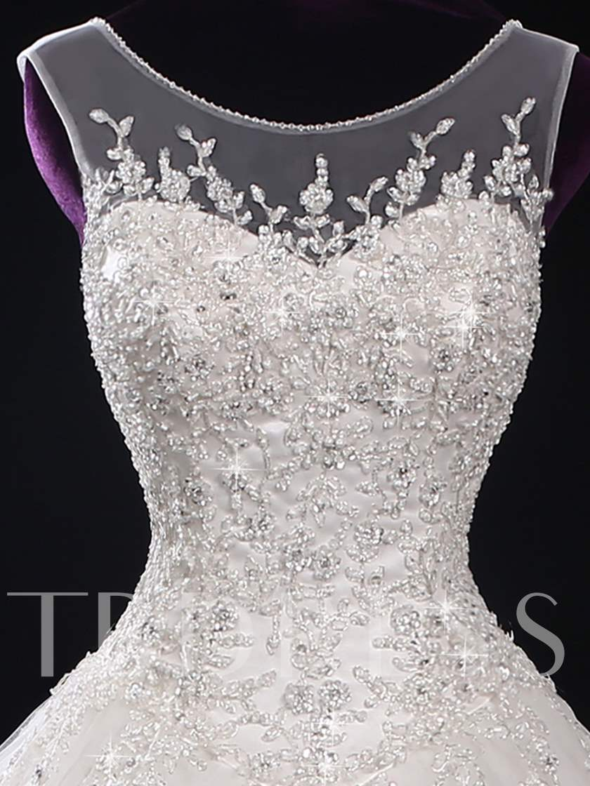 Scoop Neck Beading Appliques Plus Size Wedding Dress