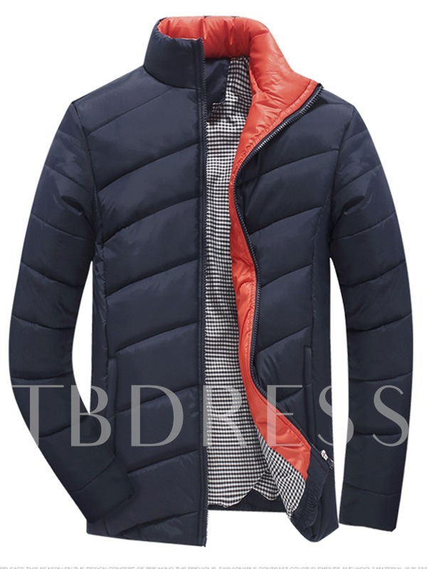 Hooded Thicken Warm Down Men's Overcoat with Pure Color