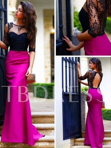 A-Line Half Sleeve Appliques Open Back Evening Dress