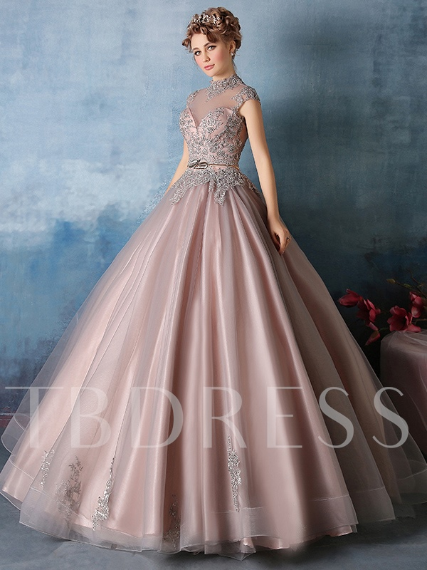 High Neck Appliques Ball Gown s