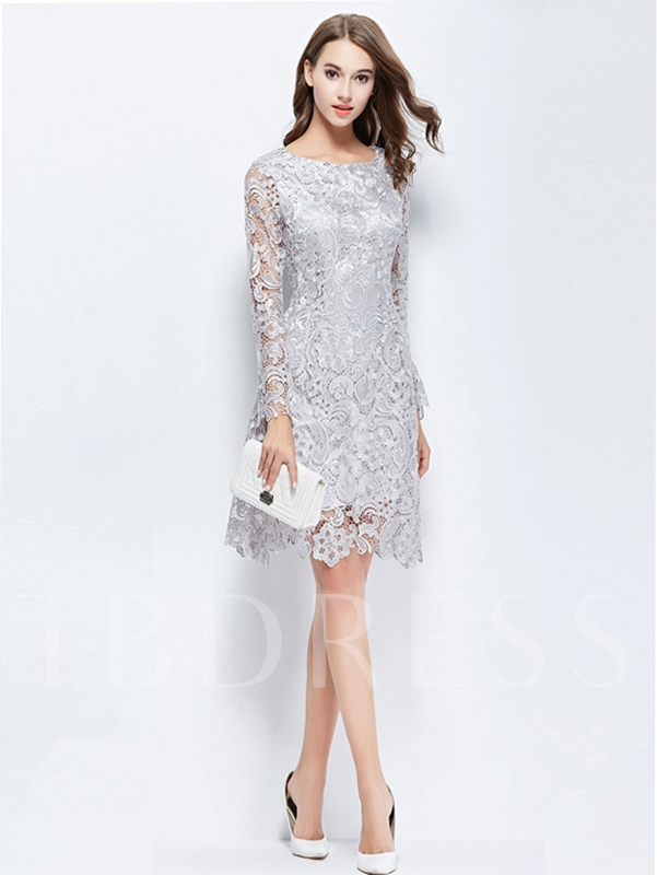Scoop Sheath Long Sleeves Lace Cocktail Dress