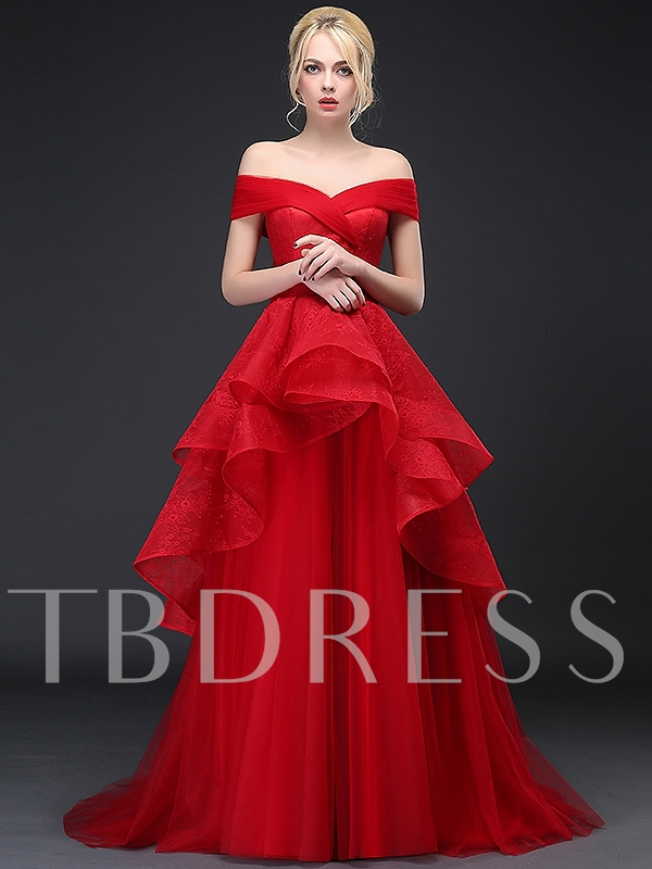 A-Line Lace Tiered Long Evening Dress