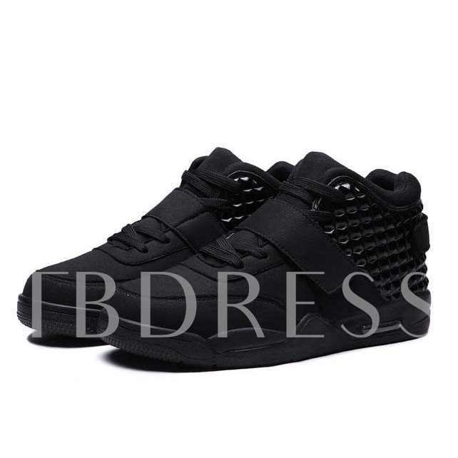 Round Toe Velcro Lace-Up Front Ankle Men's Sneakers
