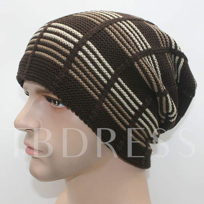 Horizontal Stripes Add Wool Knitted Cap